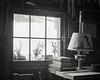 Oil Lamp and Cabin Window, B&W