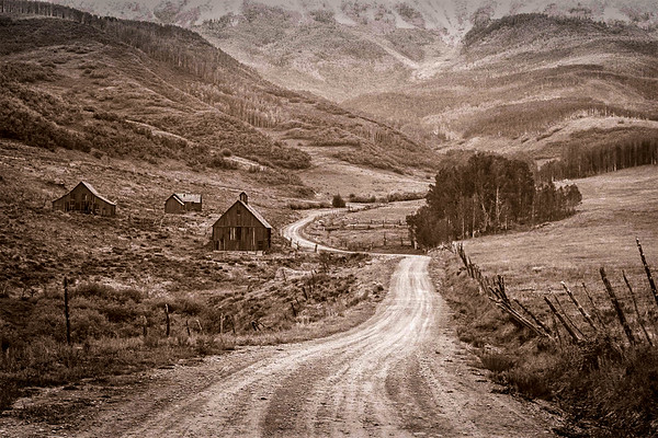 Dirt Road to the Barns, Sepia