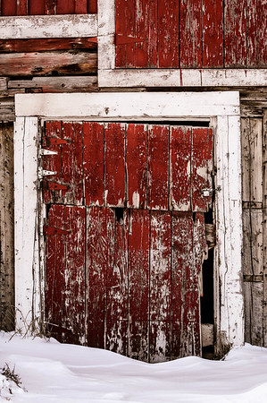 Weathered Crimson Barn Door