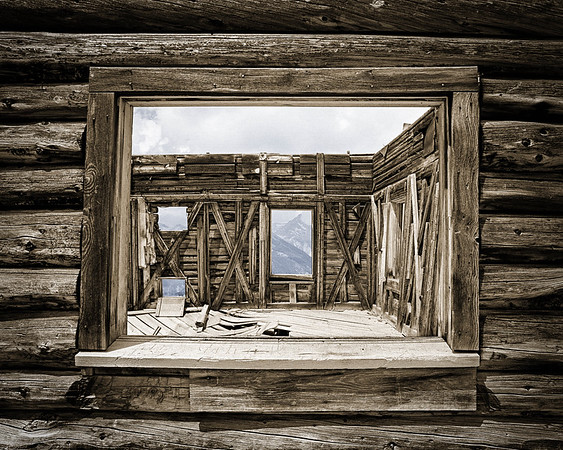 Old Mine Cabin Window, Colorized B&W