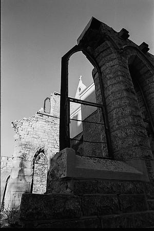 Burned Church Remains, B&W