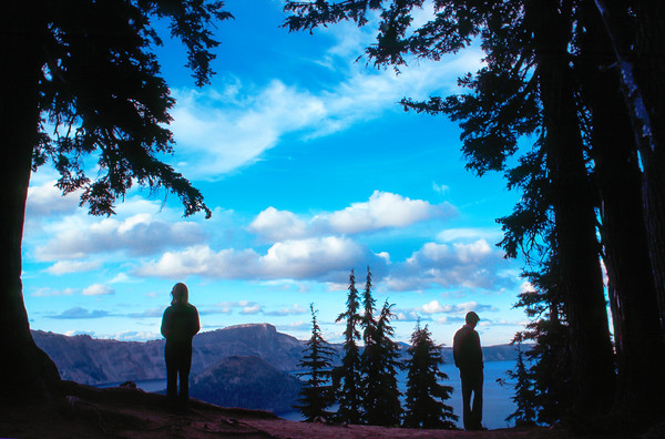 Contemplative Couple at Crater Lake