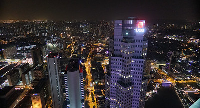 View from 1-Altitude bar towards northwest, Singapore River and Elgin Bridge in the bottom right corner