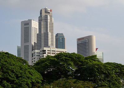 Skyscrapers of the Central Business District of Singapore, seen from Fort Canning Park