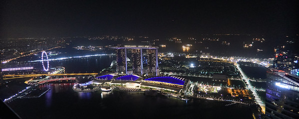 View from 1-Altitude bar towards east, Marina Bay Hotel and ships off the coast of Singapore