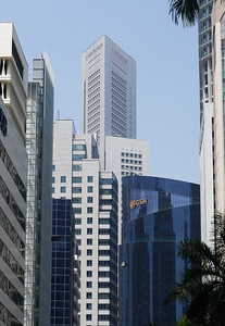 One Raffles Place Tower with the rooftop bar, seen from Robinson Road