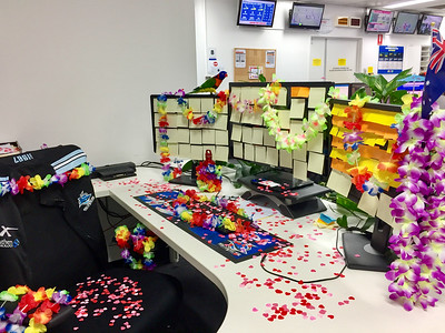 My desk at work, Happy April Fools Hawaiian Luau Day!!!