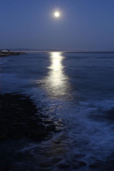Full moon rising over Monterey bay