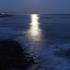 Full moon rising over Monterey bay