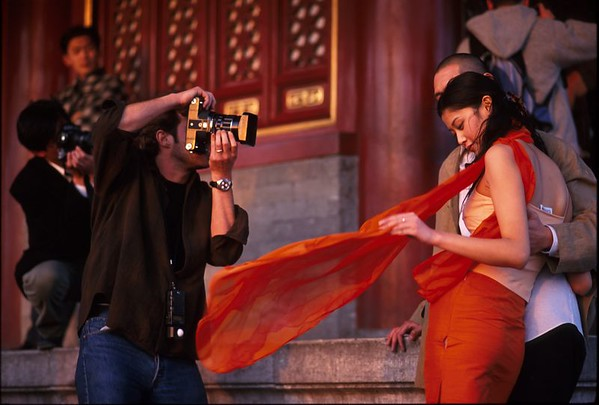 They were doing a photo shoot on top of Jingshan Park in Beijing.