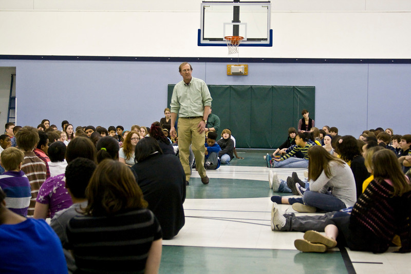 Knapp Charter Academy.  Gary Schmidt speaks to the middle school.