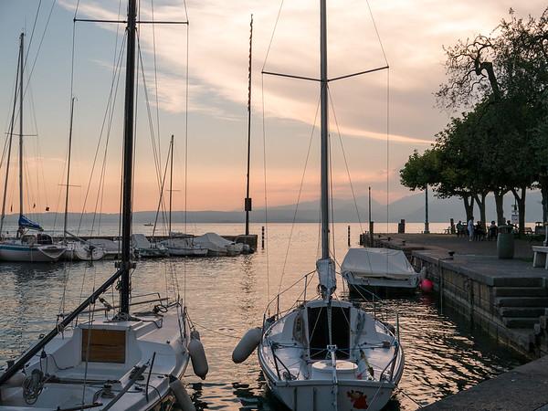 Sunset over the harbor in Torri | Torri del Benaco, Veneto Italy