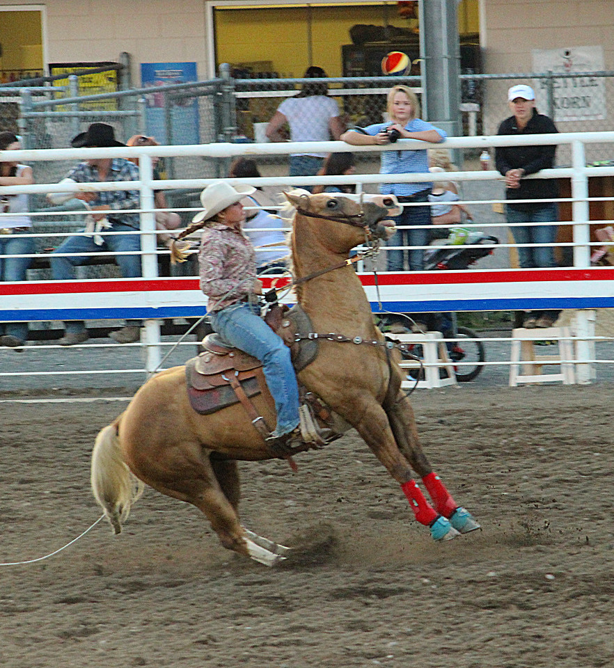 A night at the rodeo. Cody, Wyoming.<br /> Hitting the brakes!
