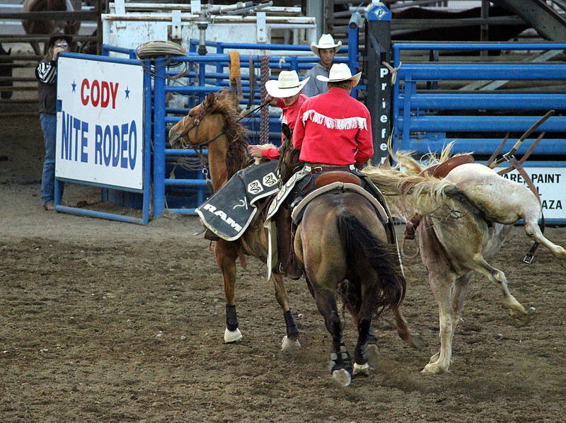 A night at the rodeo. Cody, Wyoming.<br /> A saddle bronc being difficult.