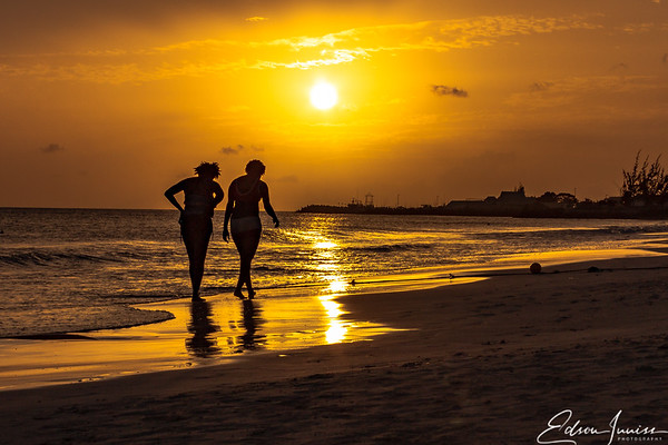 Leisurely walk on a beach in Barbados