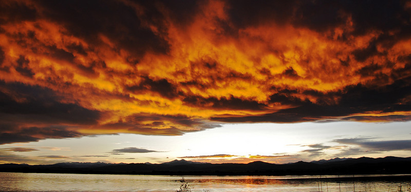 Sunset over Loveland's Boyd Lake and Longs Peak - A common occurrence.