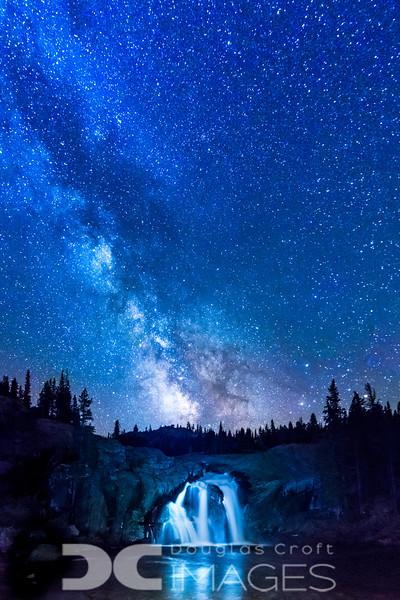 White Cascade Under the Stars
