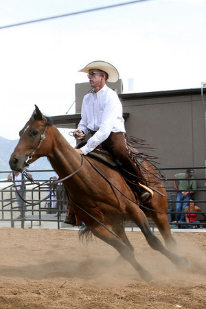 Wylie Gustafson, riding Irish Whiskey Sugar, demonstrates the Western tradition of cow cutting during the 71st annual National Folk Festival in Butte, Mont.  Photo by Jeri L. Dobrowski  1.79 MB