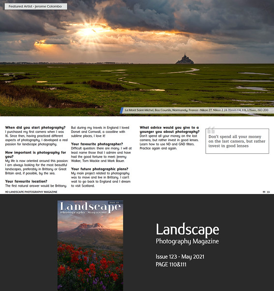 www.jeromecolombo.com, Flickr, Landscape Photography Magazine Issue 123 May 2021 p110&111, Featured Artist (10 pages Portfolio)