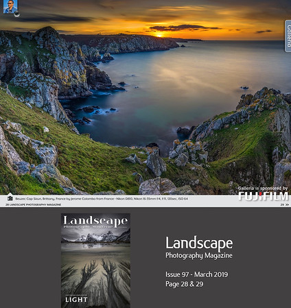 www.jeromecolombo.com, Flickr, Landscape Photography Magazine N°97 march 2019