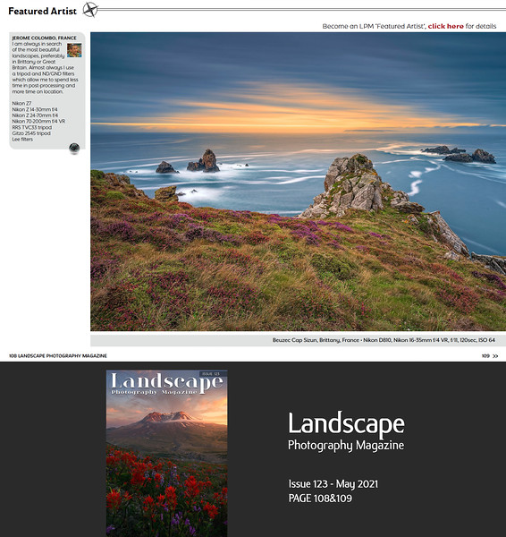 www.jeromecolombo.com, Flickr, Facebook, Landscape Photography Magazine Issue 123 May 2021 p108&109, Featured Artist (10 pages Portfolio)