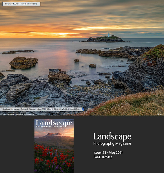 www.jeromecolombo.com, Flickr, Landscape Photography Magazine Issue 123 May 2021 p112&113, Featured Artist (10 pages Portfolio)