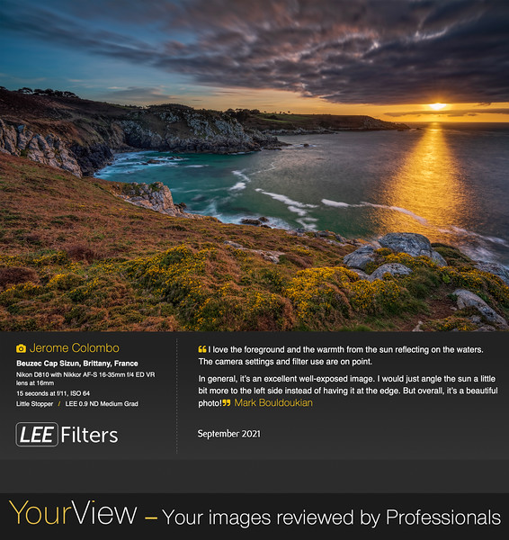 """Lee Filters """"Your View"""" September 2021 (Image selected by Mark Bouldoukian)"""