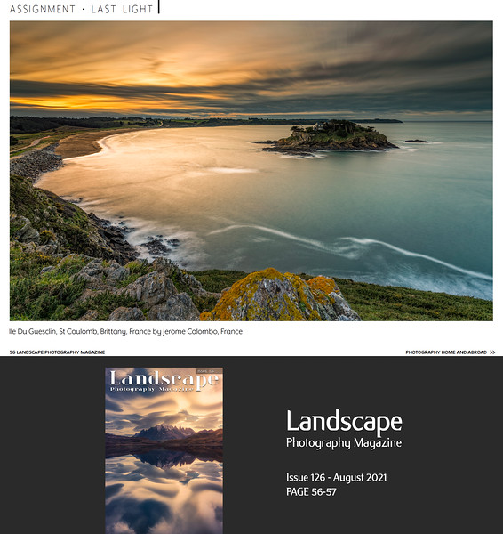www.jeromecolombo.com, Flickr, Landscape Photography Magazine issue 126 August 2021 : Last Light Assignment