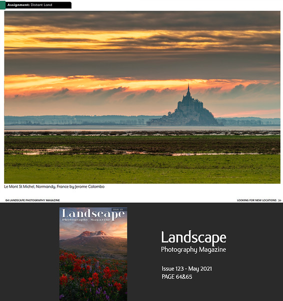 """www.jeromecolombo.com, Flickr, Instagram, Facebook, Landscape Photography Magazine Assignement """"Distant Land"""" Issue 123 May 2021 p64&65"""