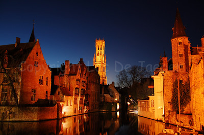 View on the Belfry (Belfort), seen from the famous Rozenhoedkaai in Bruges (Brugge).