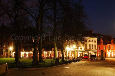 The Wijngaardplein at sunset in Bruges (Brugge), Belgium.
