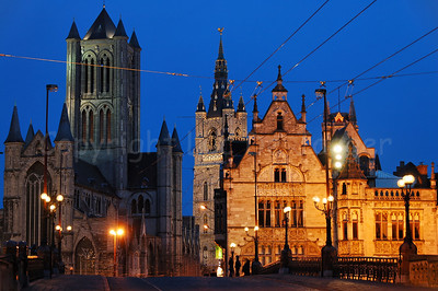 The three Towers in Ghent (Gent), Belgium: left: the Sint Niklaaskerk (Church of St Nicolas) center: the Belfort (Belfry) right (behind the buildings): Sint Baafskathedraal (Cathedral of St Bavo)  This image was printed on page 89 of the 2009 CityZine Guide of Ghent.