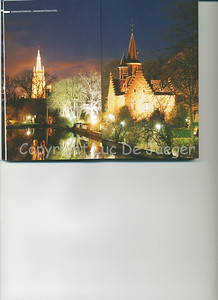 This evening image of the Minnewater Castle in the Minnewaterpark in Bruges (Brugge), Belgium is published on the pages 8-9 of the 2009 edition of the CityZine Guide of Bruges.