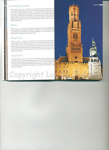 This evening shot of the Belfry (Belfort) and Cloth Hall (Lakenhalle) on the Market Square (Markt) is published on page 31 of the 2009 edition of the CityZine Guide of Bruges.