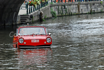 "The Amphicar, still the only amphibious automobile ever mass-produced for sale to the public, built in the 60s. In Belgium, the Amphicar was featured in a Youth Television Series ""Kapitein Zeppos"" (Captain Zeppos) around the mid 60s.  This photo was printed on page 9 of the 2009 CityZine Guide about Ghent."