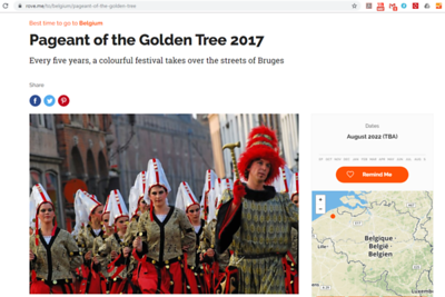 Rove.me features 4 of my pictures about the Pageant of the Golden Tree 2017 (Gouden Boomstoet). This is the first one. The next 3 pictures are found in the article that can be read on https://rove.me/to/belgium/pageant-of-the-golden-tree