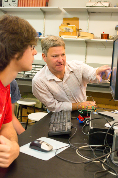 Mike Bergman and his Robotics Class in the Fisher Center
