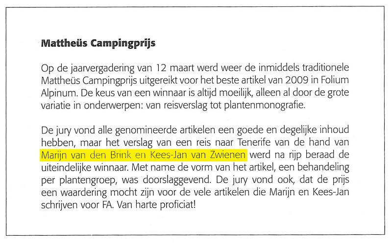 Mattheüs Camping Award 2009, best article published in the NRV bulletin Folium Alpinum