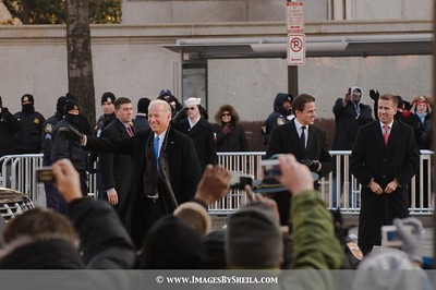 VP Joe Biden waves at the crowd before him.