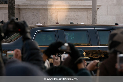 President Obama waved as the motorcade subsequently came to a halt and he stepped out.