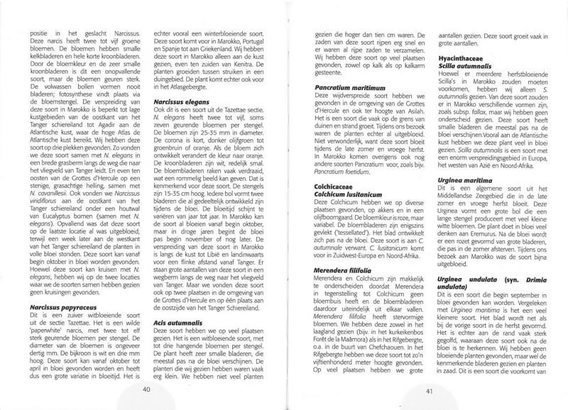 De herfstbloeiende flora van NW Marocco (Folium Alpinum 101, Februari 2011) p. 40-41