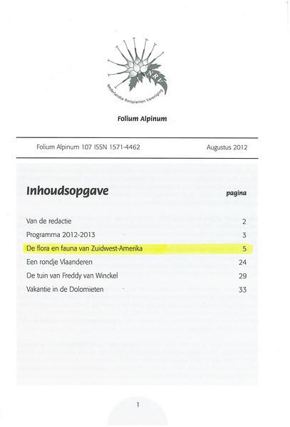 De flora en fauna van Zuidwest America. NRV. Folium Alpinum 107, Augustus 2012 pag.1