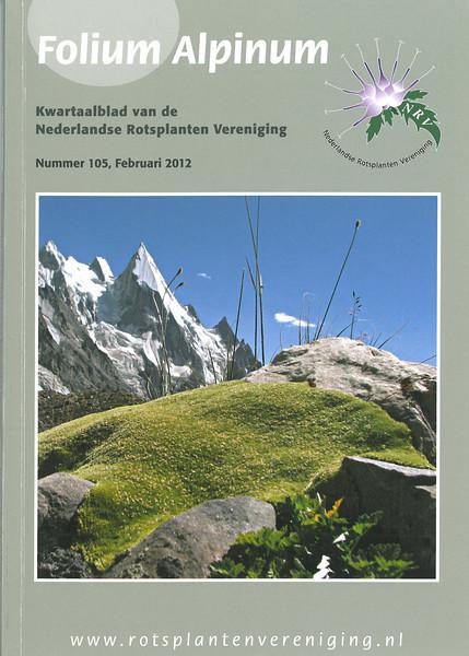 NRV Folium Alpinum 105, front page , februari 2012. De hooggebergte flora van de Karakorum (Pakistan)