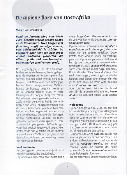 The Alpine Flora of East Africa (NRV, No. 88, Aug 2007, p. 10)