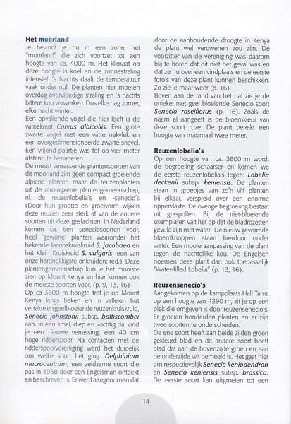 The Alpine Flora of East Africa (NRV, No. 88, Aug 2007, p. 14)