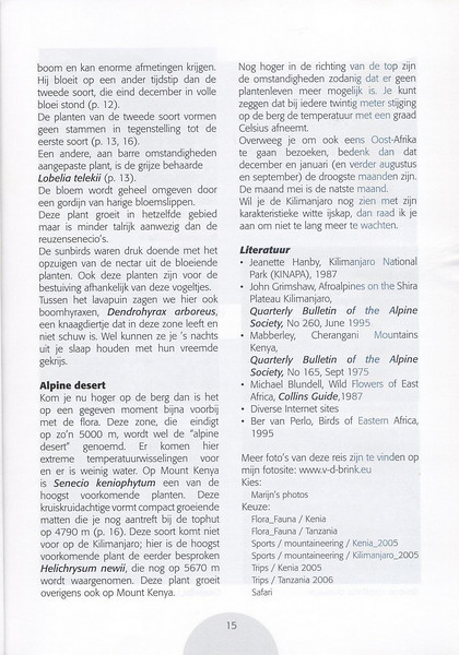 The Alpine Flora of East Africa (NRV, No. 88, Aug 2007, p. 15)
