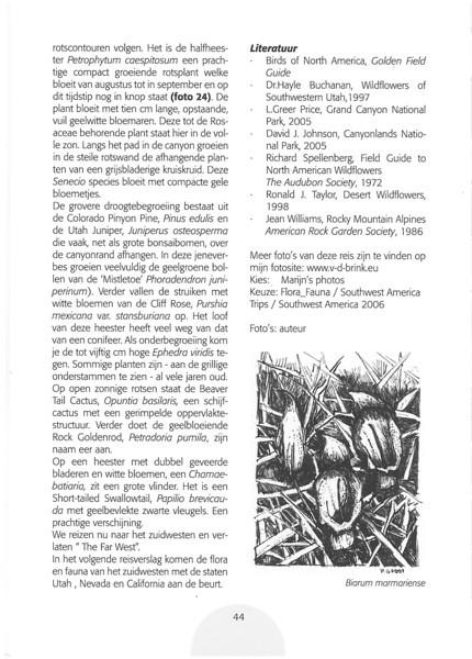 De flora en fauna uit het verre westen van Amerika.<br /> Folium Alpinum  106, page 44 Mei 2012