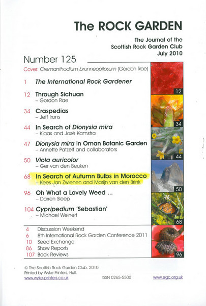 In Search of Autumn Bulbs in Morocco (Scottish Rock Garden Club bulletin nr.125 July 2010 pag.68-95)