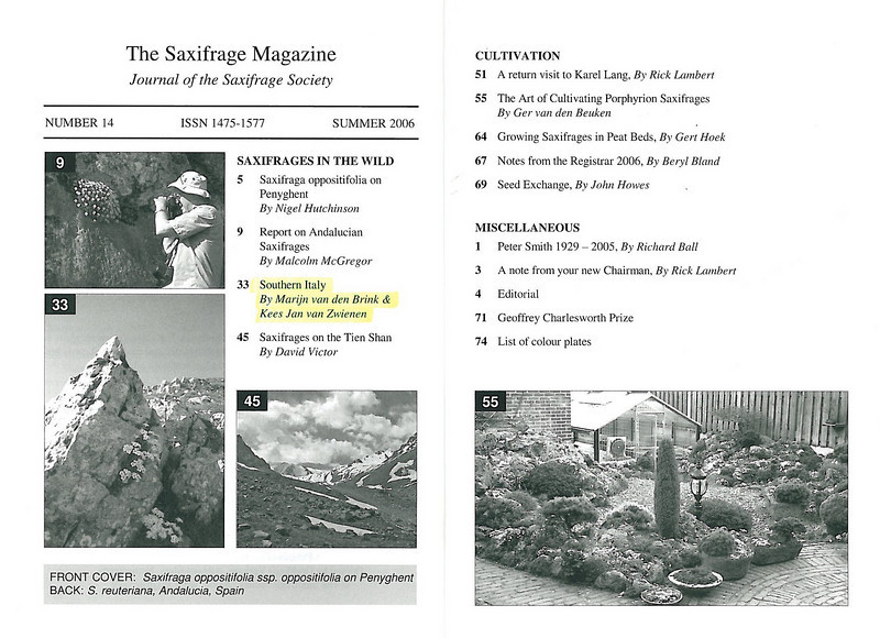 Saxifrages of South Italy (Sax. Society Magazine No. 14, Summer 2006)