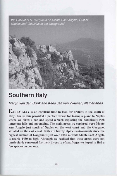 Saxifrages of South Italy (Sax. Society Magazine, No. 14, Summer 2006, p. 33)